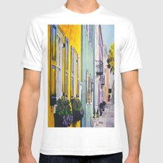 Row of Color White SMALL Mens Fitted Tee