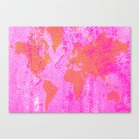 COME WITH ME AROUND THE WORLD (HOT PINK) Canvas Print