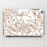 Dotted Floral Scroll Sepia iPad Case