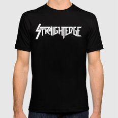 Straight Edge Metal Logo Black SMALL Mens Fitted Tee
