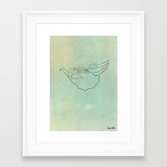 One Line Yoda Framed Art Print