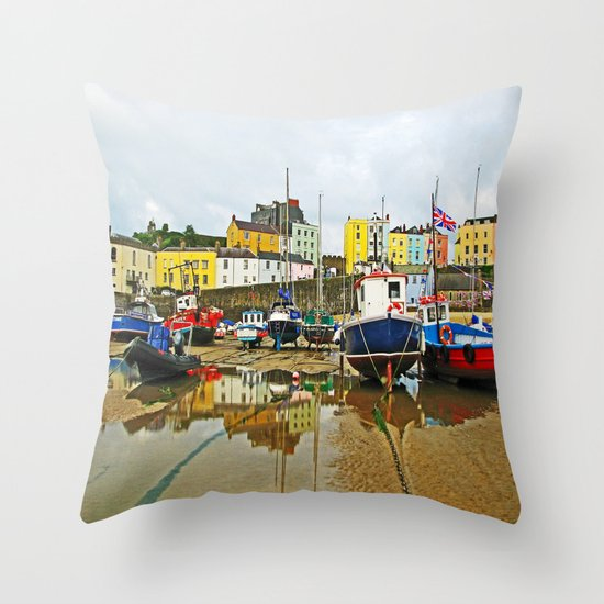 Tenby Harbour Reflection.Wales. Throw Pillow