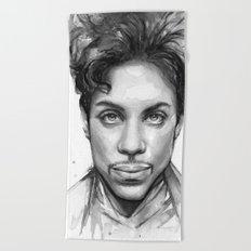 Prince Watercolor Black and White Portrait Beach Towel