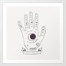 Palmistry Hand Drawing Art Print