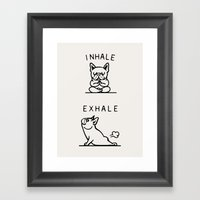 Inhale Exhale Frenchie Framed Art Print