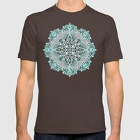 Teal And Aqua Lace Manda… Mens Fitted Tee Brown SMALL