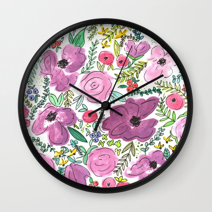Wall Clock Floral Design : Purple floral design watercolor painting wall clock by