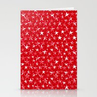 White stars abstract on bold red background illustration Stationery Cards