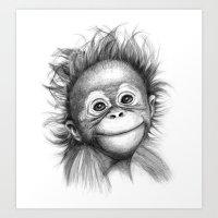 Monkey - Baby Orang Outa… Art Print