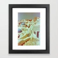 Santorini in Raspberry and Blue II: shot using Revolog 600nm special effects film Framed Art Print