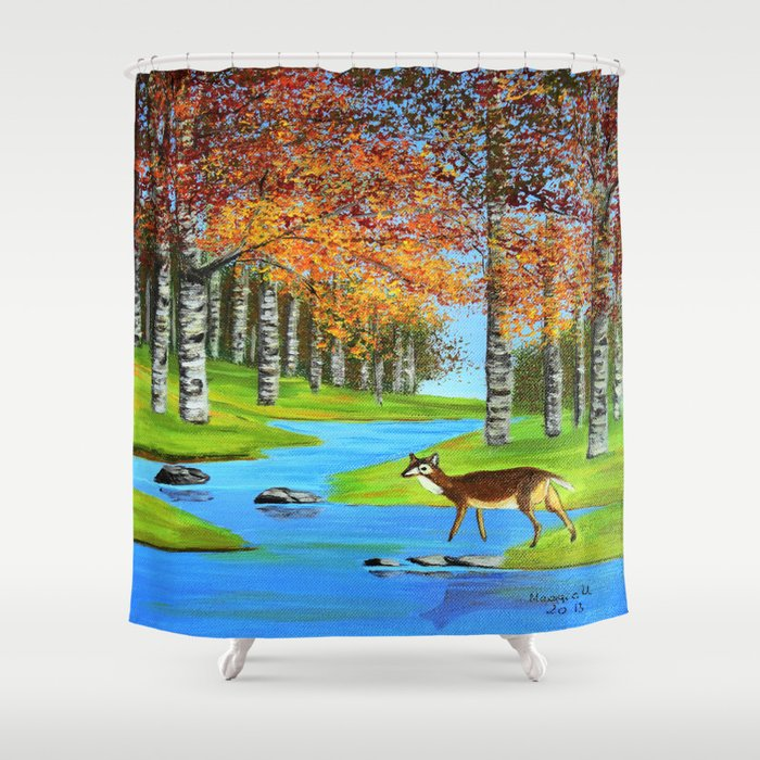 Birch trees in the fall Shower Curtain by Maggs326   Society6