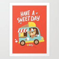 Ice Cream Bear Art Print