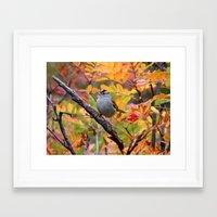 Bird in Autumn Foliage Framed Art Print