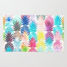 Hawaiian Pineapple Pattern Tropical Watercolor Rug