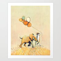 Little Girl And Elephant Art Print