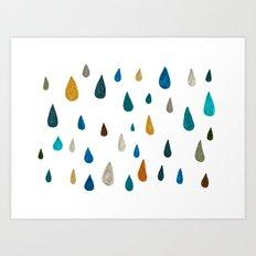 raindrops - green Art Print