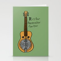 R is for Resonator Guitar Stationery Cards