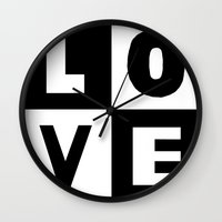 Love Black Wall Clock