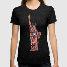 the french gift: statue of liberty Womens Fitted Tee Tri-Black SMALL