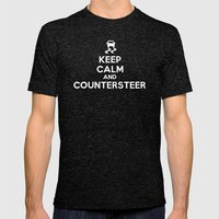 Keep Calm and Countersteer - White Text Mens Fitted Tee Tri-Black SMALL