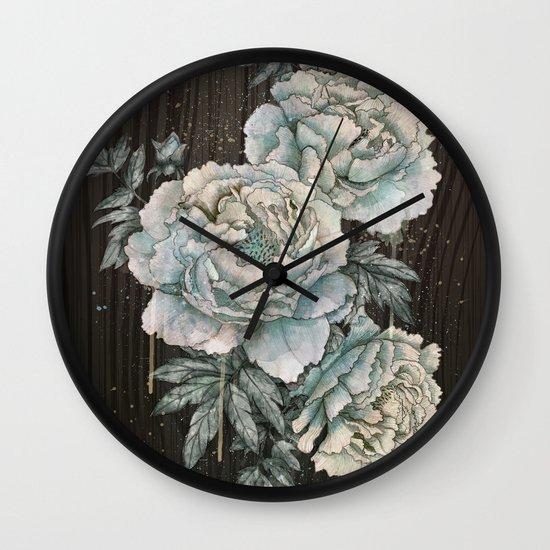 Peony Wood Wall Clock