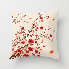 Oriental plum blossom in spring Throw Pillow