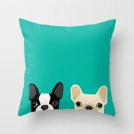 Boston Terrier & French … Throw Pillow