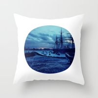 Telescope 3 harbour twilight Throw Pillow
