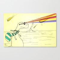 Hipster Laser Dinosaur Canvas Print