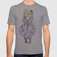Kissing women in a flower dress Mens Fitted Tee Athletic Grey SMALL