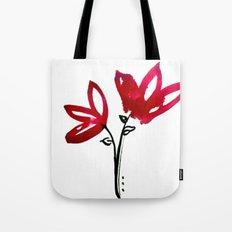 Bloom - Red & Black India Ink Floral Tote Bag