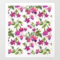 April blooms IV - Fuchsia White Art Print