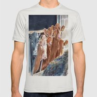Calves At Brunch Mens Fitted Tee Silver SMALL