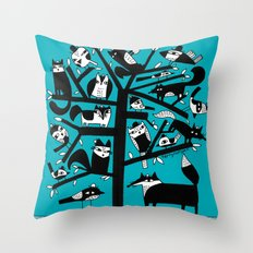 ANIMAL TREE AQUA Throw Pillow