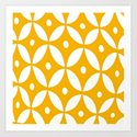 Yellow and White Abstract Design Art Print
