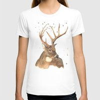 Ice Reindeer Womens Fitted Tee White SMALL