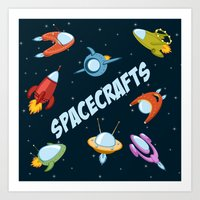Spacecraft and rockets flying the stars Art Print