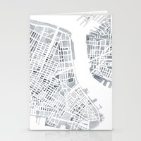 Map Manhattan Gray NYC Stationery Cards