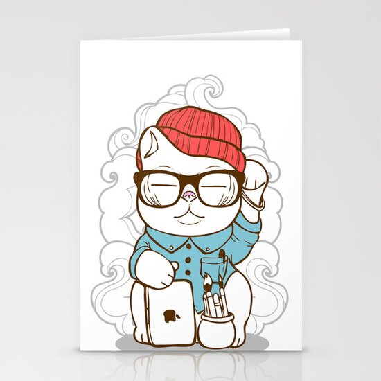 Hipster Kitty Stationery Card
