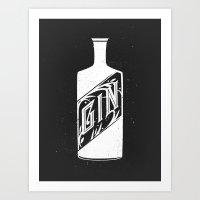 Gin - White Art Print