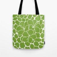 Hibiscus Animal Green Tote Bag
