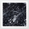 Real Marble Black Art Print