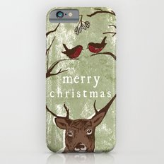 Reindeer Mistletoe Christmas Card iPhone 6 Slim Case