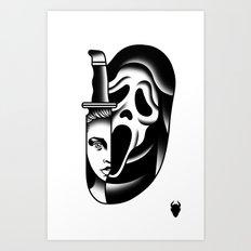 Halloween Scream Tattoo Flash Art Print