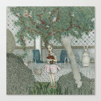 girl with chameleon Canvas Print
