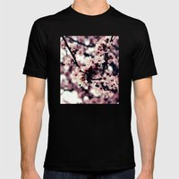 Cherry blossom Mens Fitted Tee Black SMALL