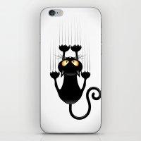 Black Cat Cartoon Scratching Wall iPhone & iPod Skin