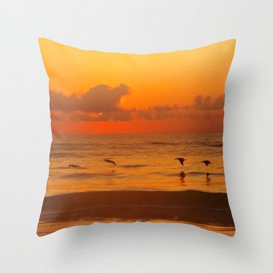 Four Pelican Sunrise Throw Pillow