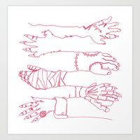 Classic Horror Hands (Re… Art Print