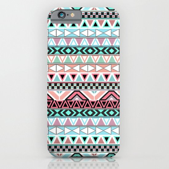 Pastel me | Andes Teal Pink Cute  Abstract Aztec Pattern iPhone & iPod Case